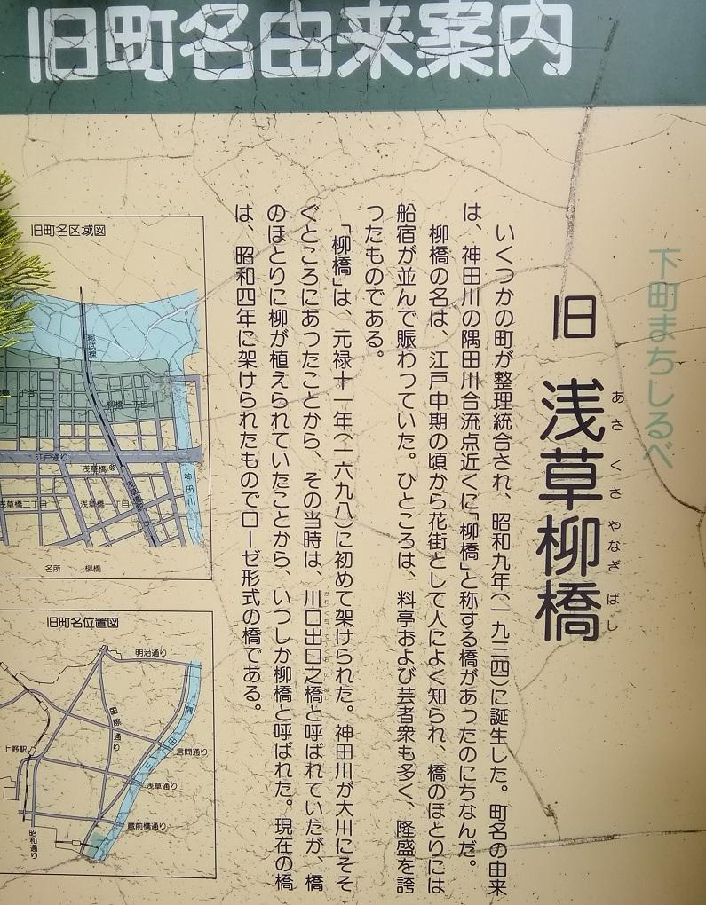 "Explanation board derived from Taito-ku old name of a street It is consideration extra ① in former Asakusa Yanagibashi Bridge (asakusayanagibashi) ""newbie"" ten years   ... Yanagibashi Bridge ..."