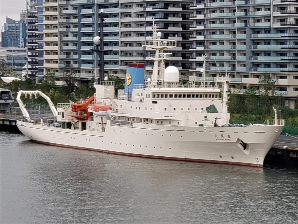 The Hakuho-maru white dragon-maru Hakuho-maru was anchoring in Harumi Wharf.