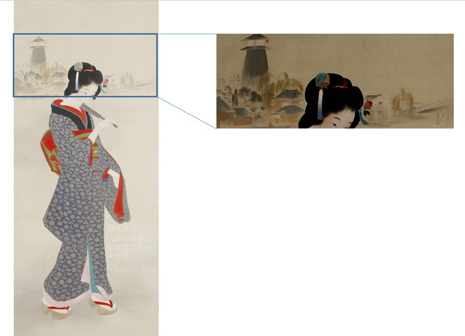 << Tsukiji Akashicho >> showcase at National Museum of Modern Art, Tokyo (we hold until ... 2019.12.15 day) of Kiyokata Kaburaki product << the Hamacho bank of a river >> Kiyokata Kaburaki _ illusion